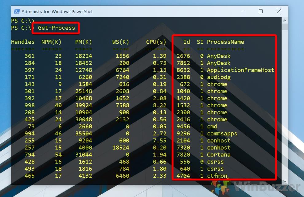 Windows 10 - PowerShell admin - Get-Process (1)
