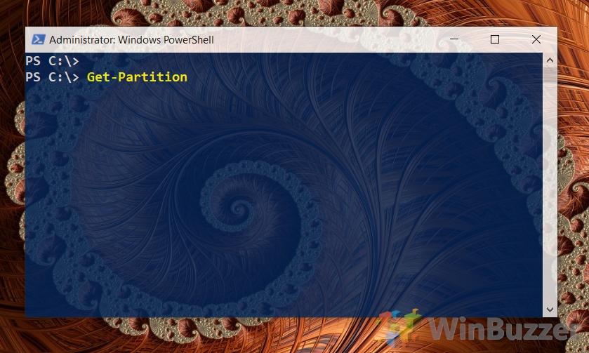 Windows 10 - Powershell admin - get-partition