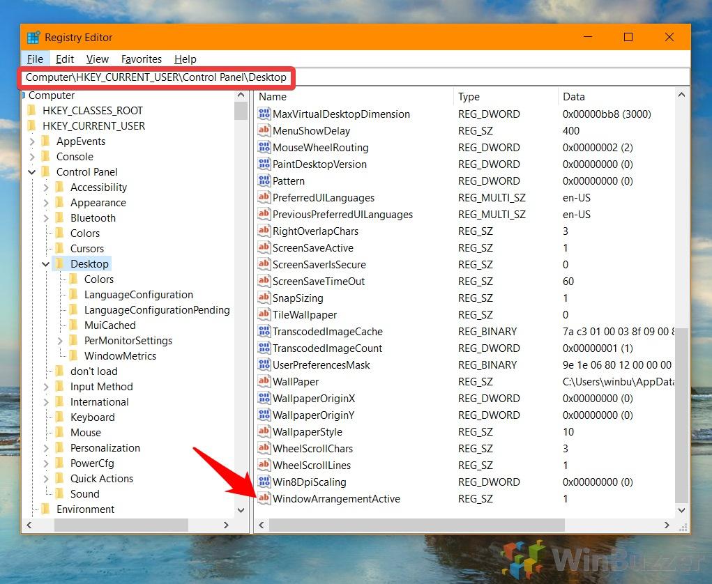 Windows 10 - Registry Editor - Copy the Hkey - Open WindowArrangementActive DWORD