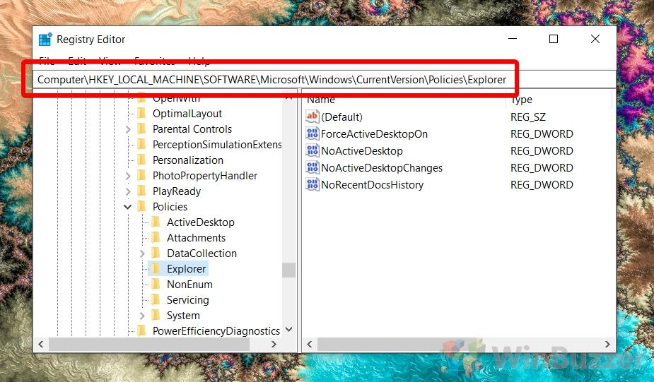 Windows 10 - gpedit - HKEY_LOCAL_MACHINESOFTWAREMicrosoftWindowsCurrentVersionPoliciesExplorer
