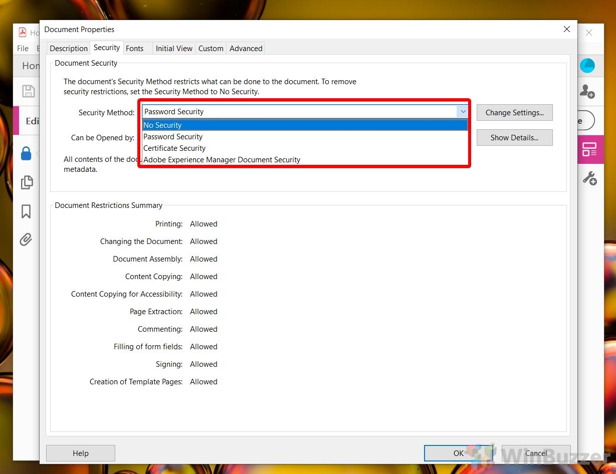 Windows 10 Adobe Acrobat Pro DC - Security Settings - Document Security