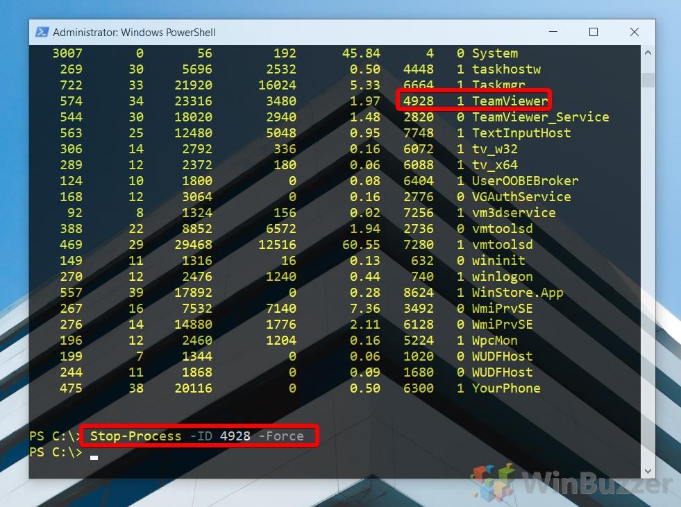 Windows 10 - PowerShell admin - Stop-Process via ID