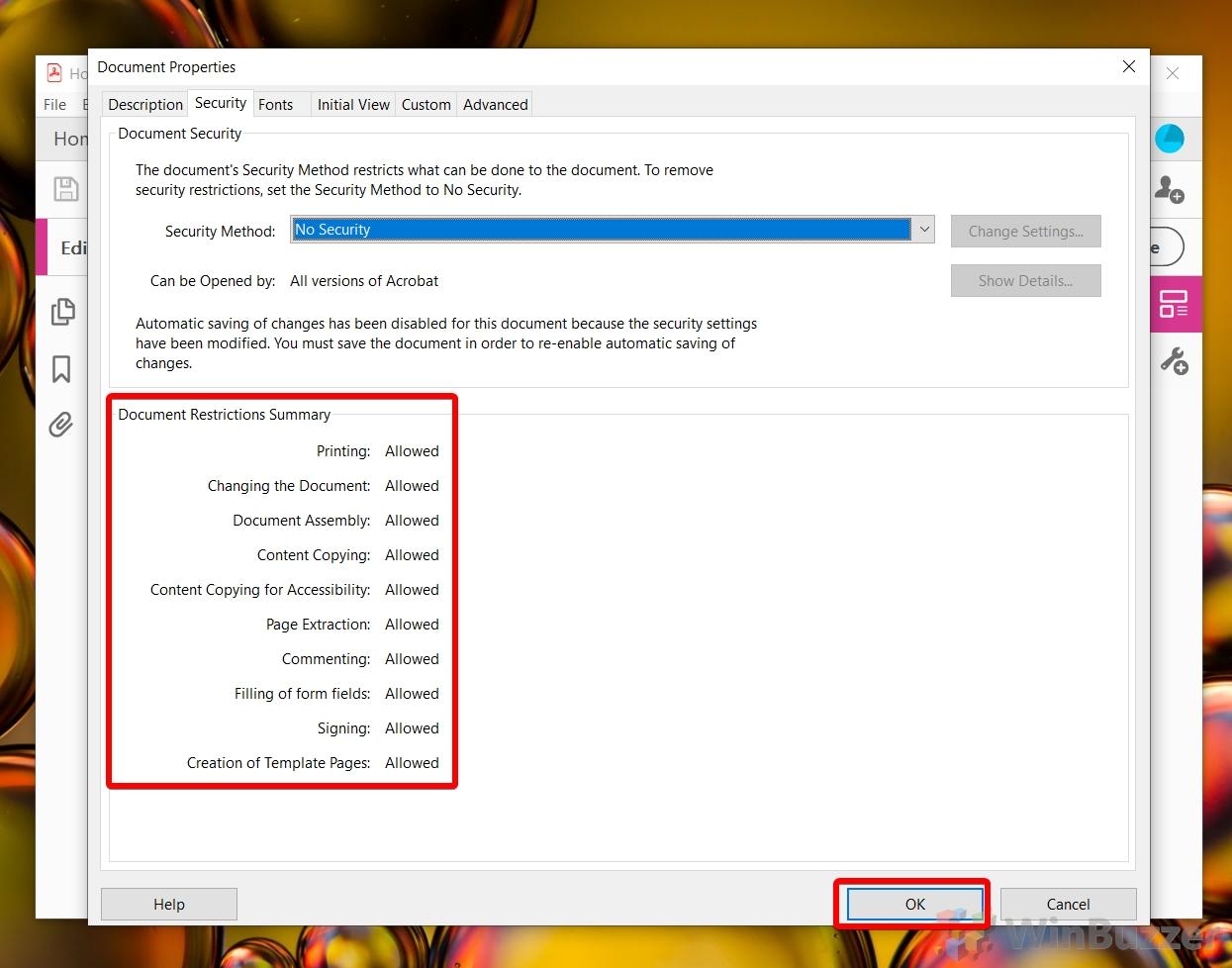 Windows 10 Adobe Acrobat Pro DC - Security Settings - Document Permissions