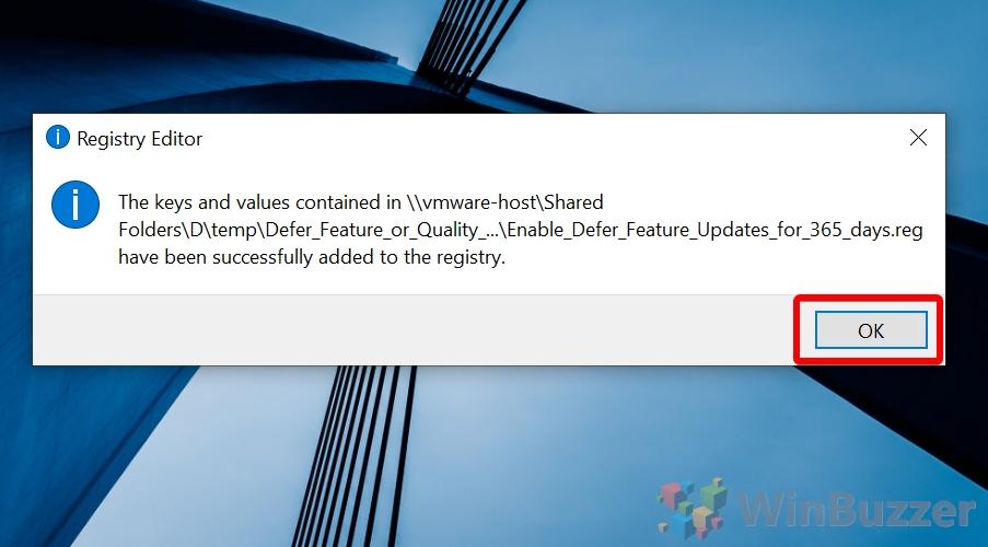 Windows 10 - Defer Updates Registry Hack - Success