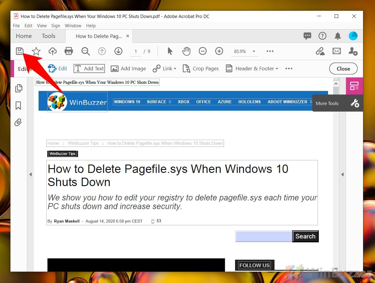 Windows 10 Adobe Acrobat Pro DC - Security Settings - Document Security - Save Document