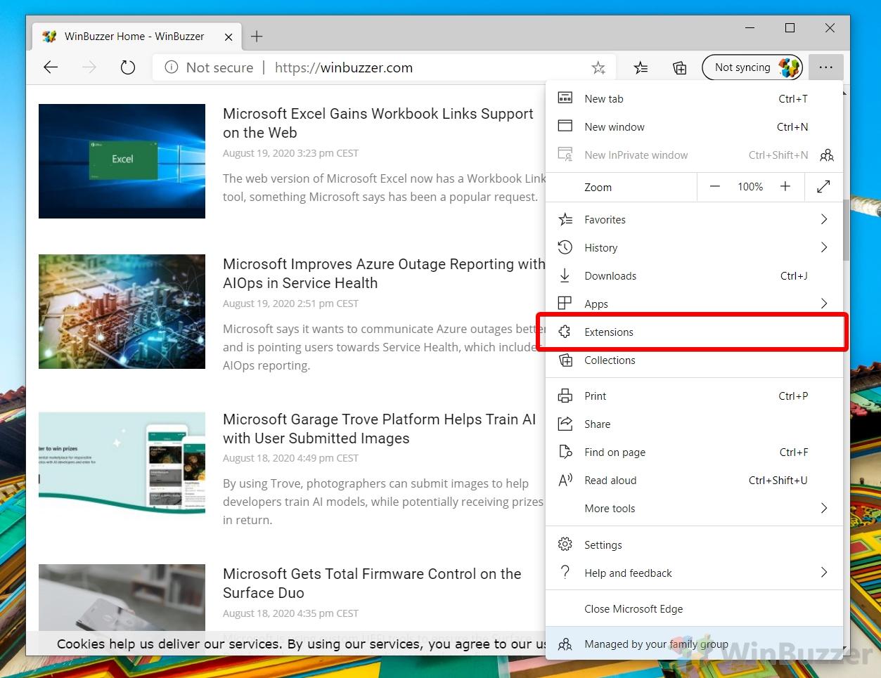 Microsoft Edge - Menu - Extensions
