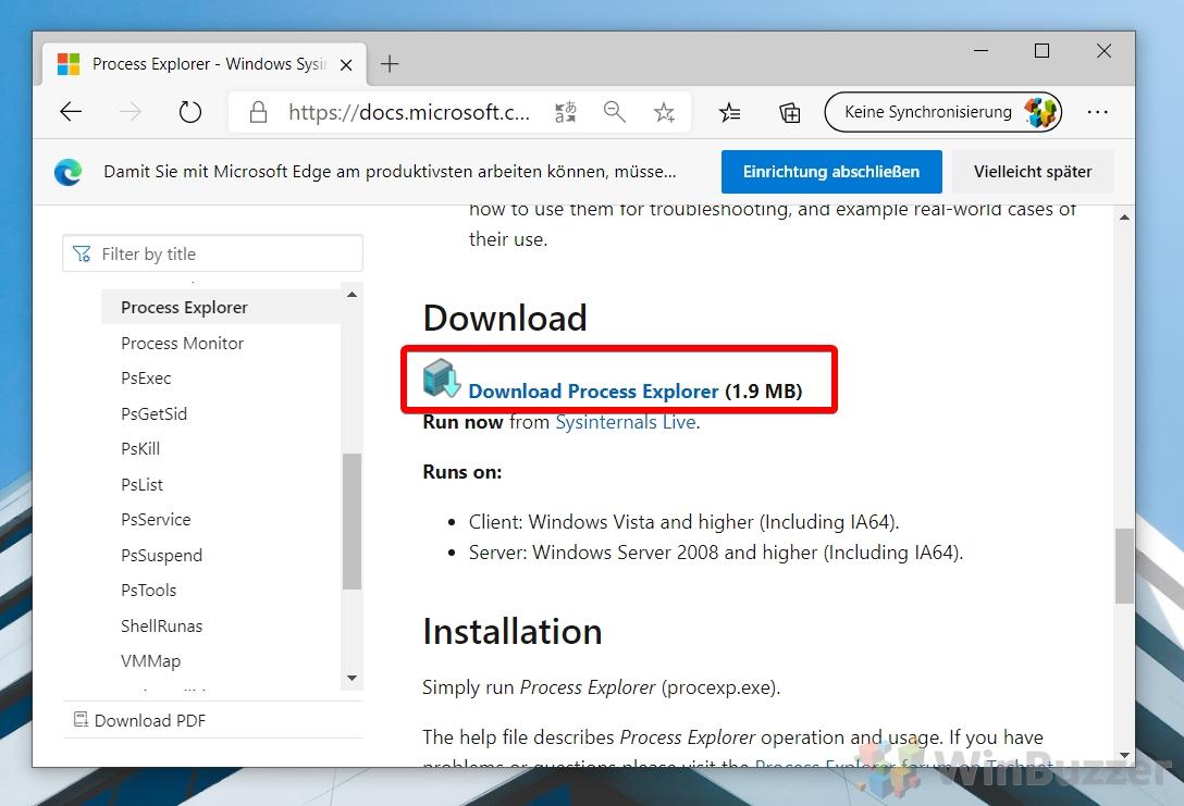 Windows 10 - Download Process Explorer
