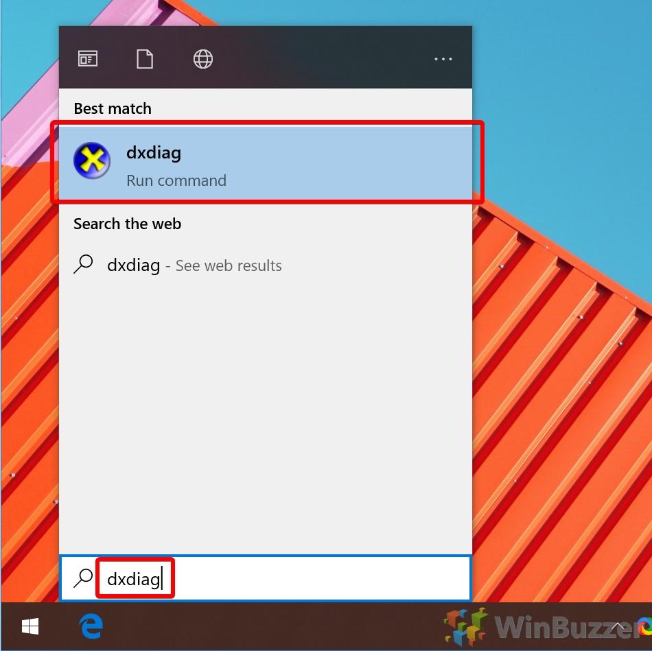 Windows 10 - Search - dxdiag