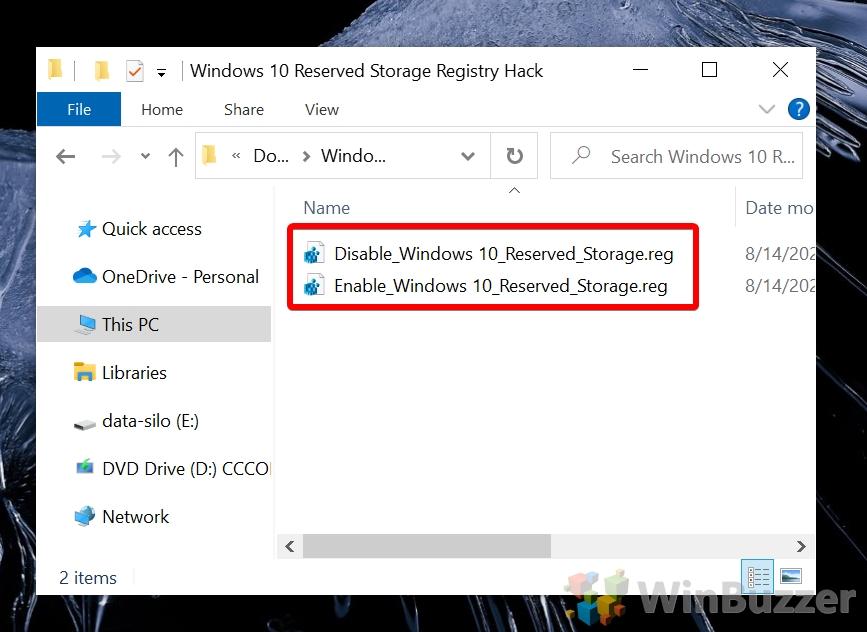 Windows 10 - Windows 10 Reserved Storage Registry Hack