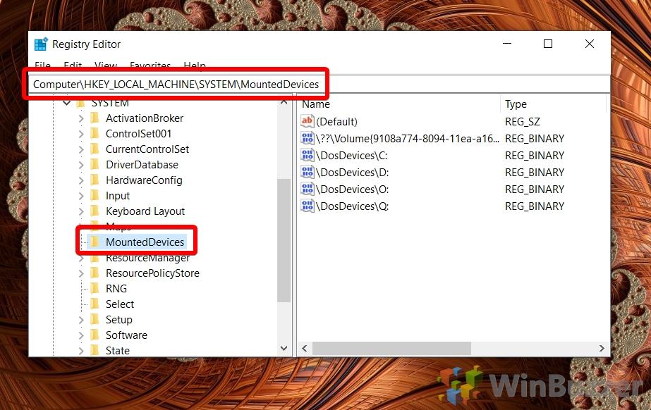 Windows 10 - Registry Editor - open mounteddevices