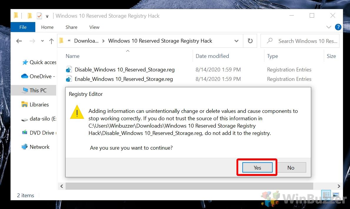 Windows 10 - Windows 10 Reserved Storage Registry Hack - Registry Editor check