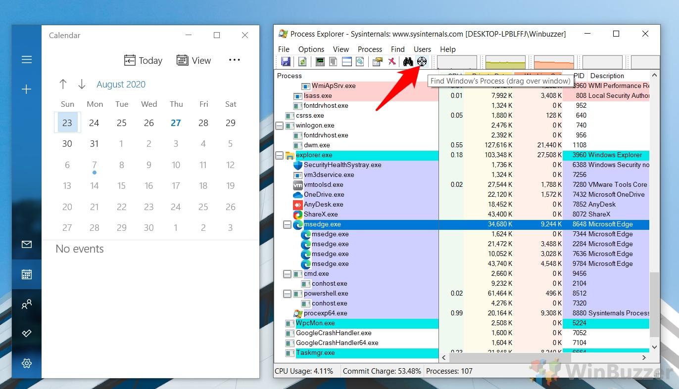 Windows 10 - Process Explorer - Identify Process by Windows