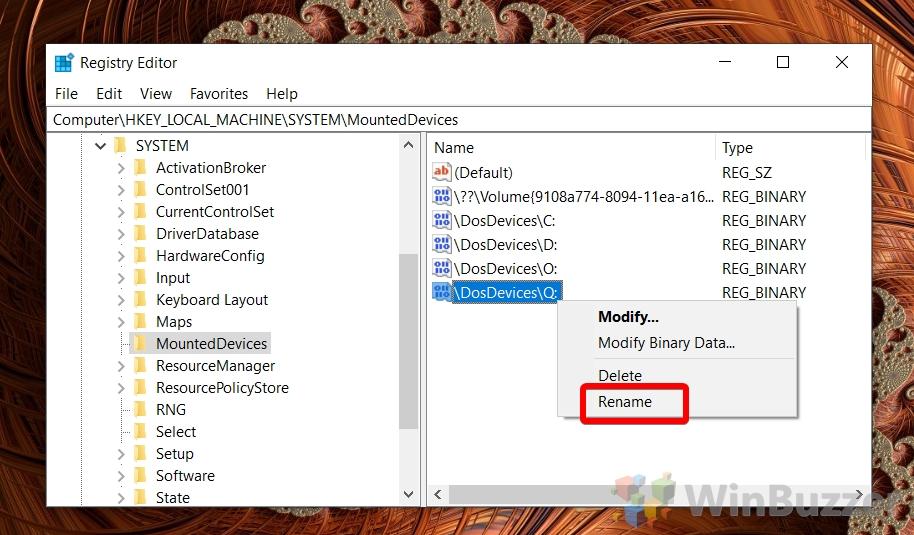 Windows 10 - Registry Editor - mounteddevices - rename