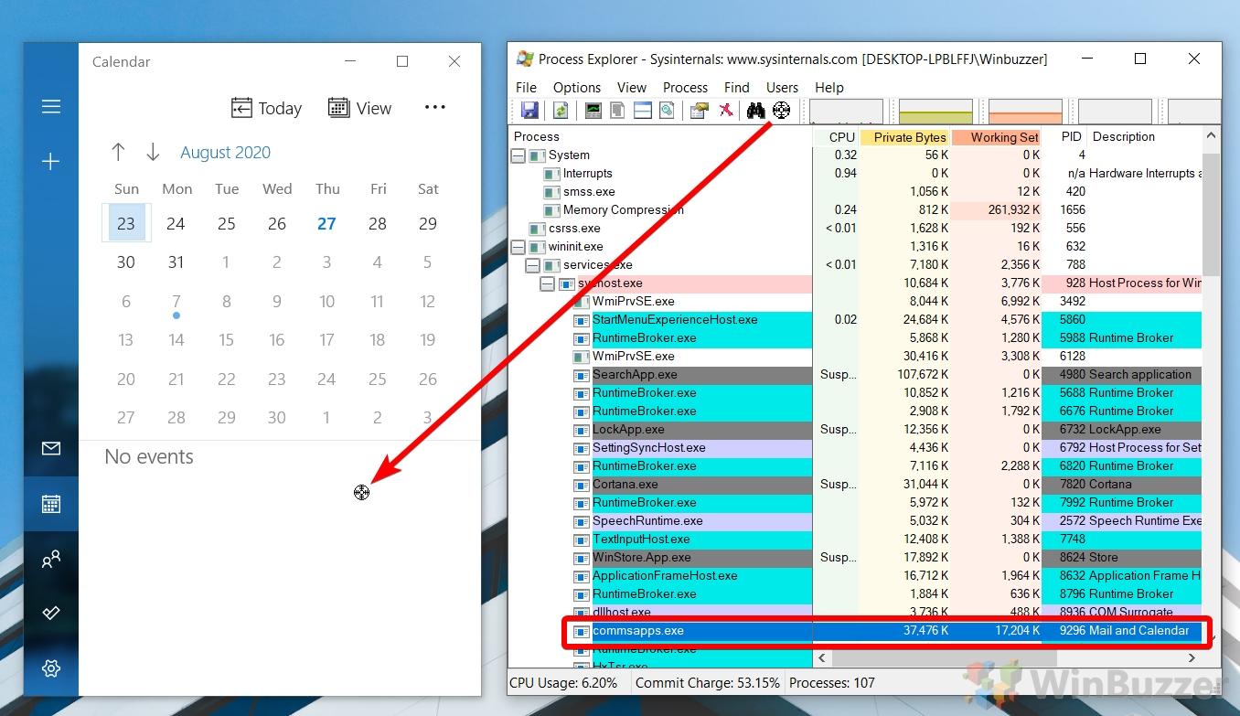 Windows 10 - Process Explorer - Identify Process by Window - Drag Symbol