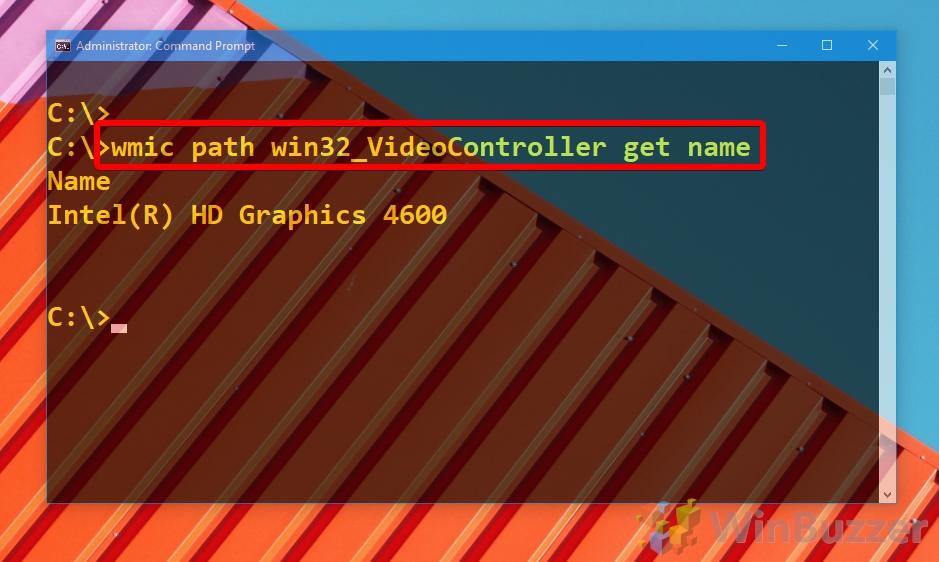 Windows 10 - CMD - wmic path win32_videocontroller
