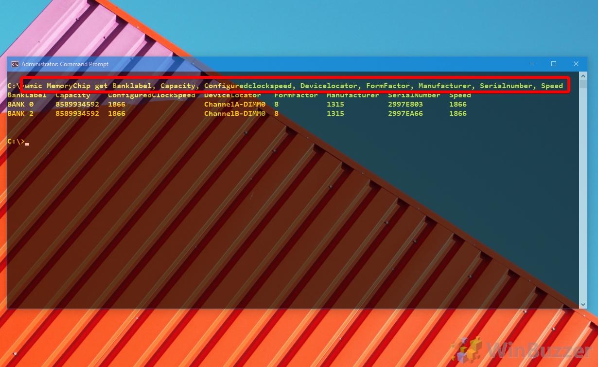 wmic Windows 10 - CMD - wmic memorychip get