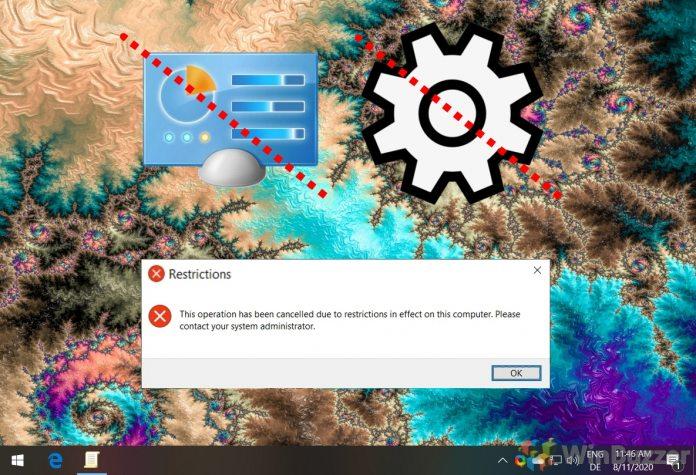 Windows 10 - regedit - local machine -CurrentVersionPoliciesExplorer - NoControlPanel