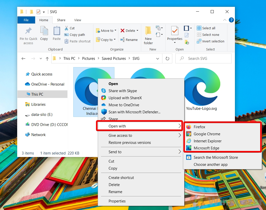 Windows 10 - File Explorer - open SVG vector image file