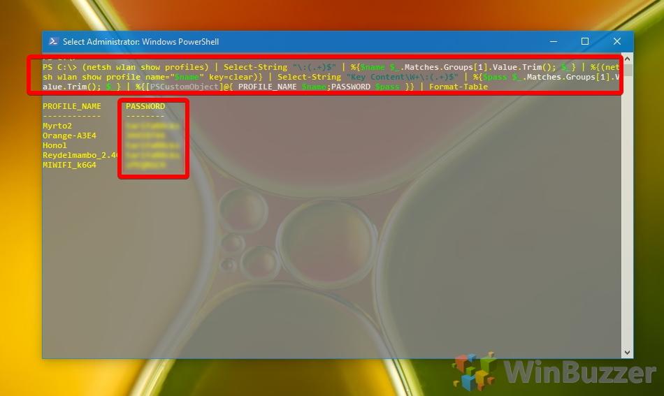 Windows 10 - PowerShell - Show WiFI-Passwords