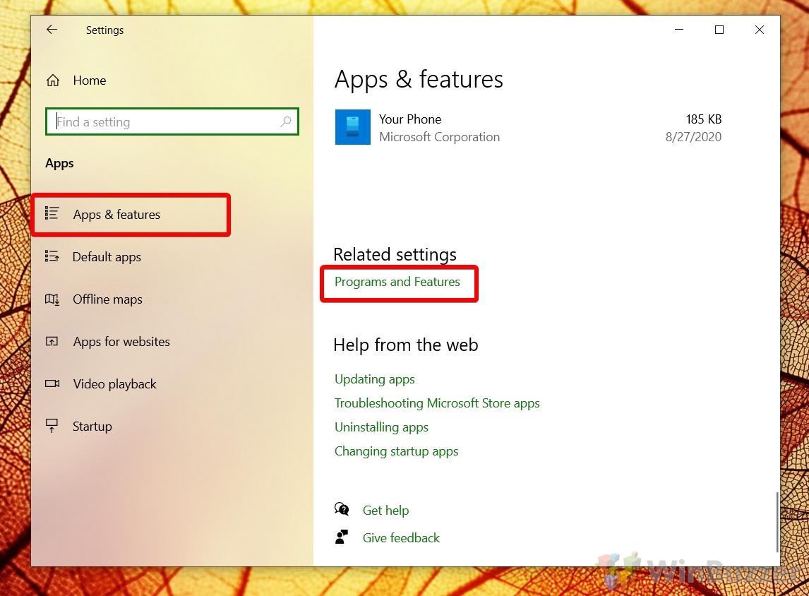 Windows 10 - Settings - Apps & Features