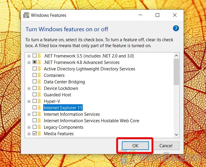 Windows 10 - Turn Windows Features on or off - Uninstall Internet Explorer - OK