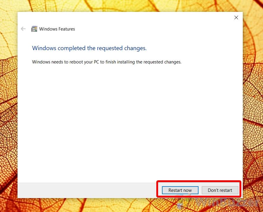 Windows 10 - Turn Windows Features on or off - Uninstall Internet Explorer - Restart now