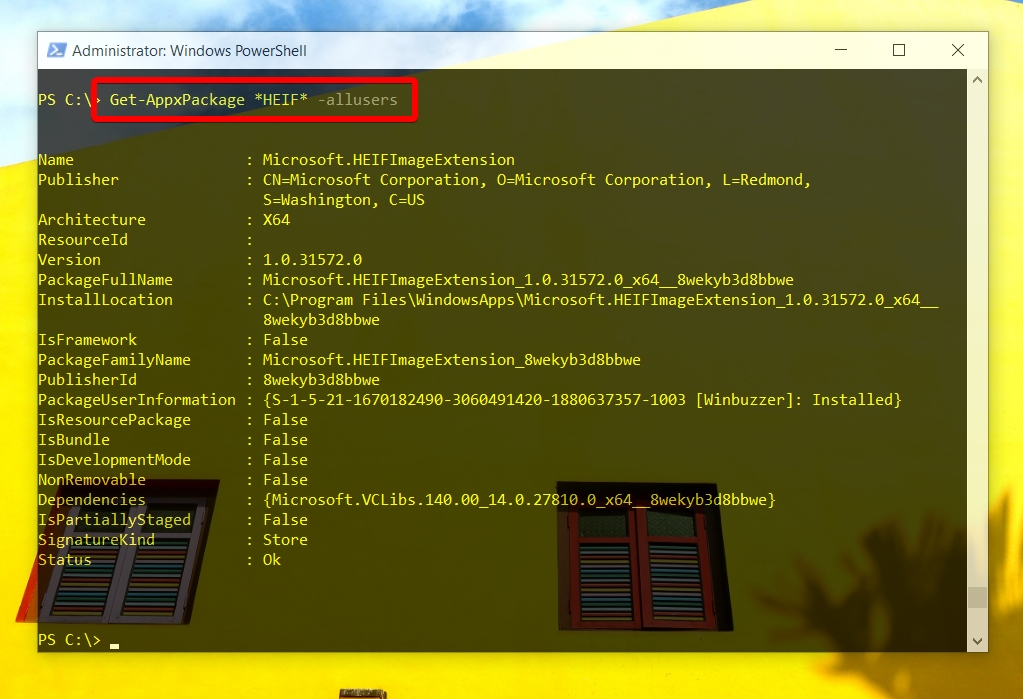 Windows 10 - Powershell admin - check if HEIF Image Extension installed