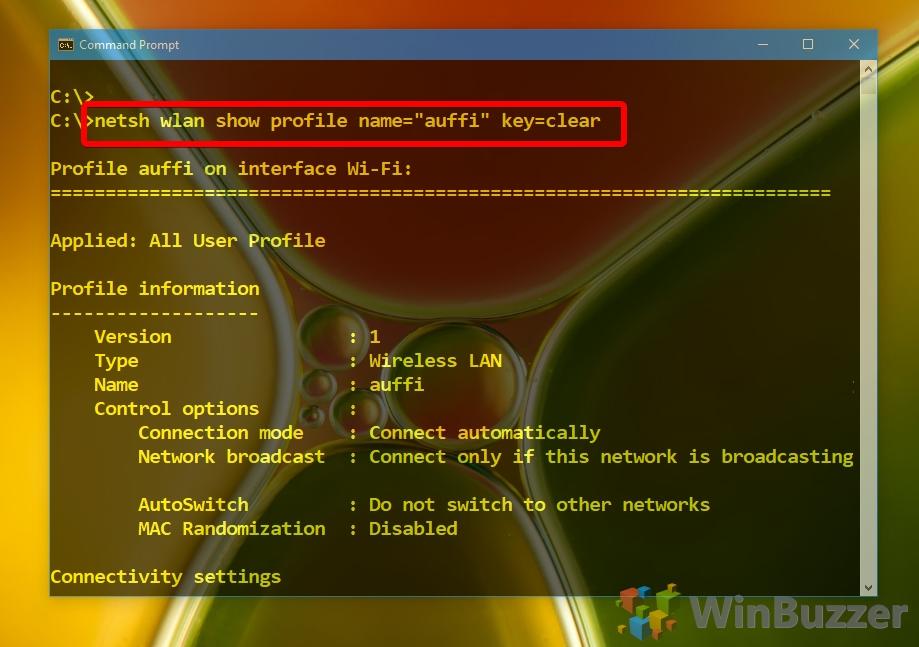 Windows 10 - CMD admin - netsh wlan show profile name key