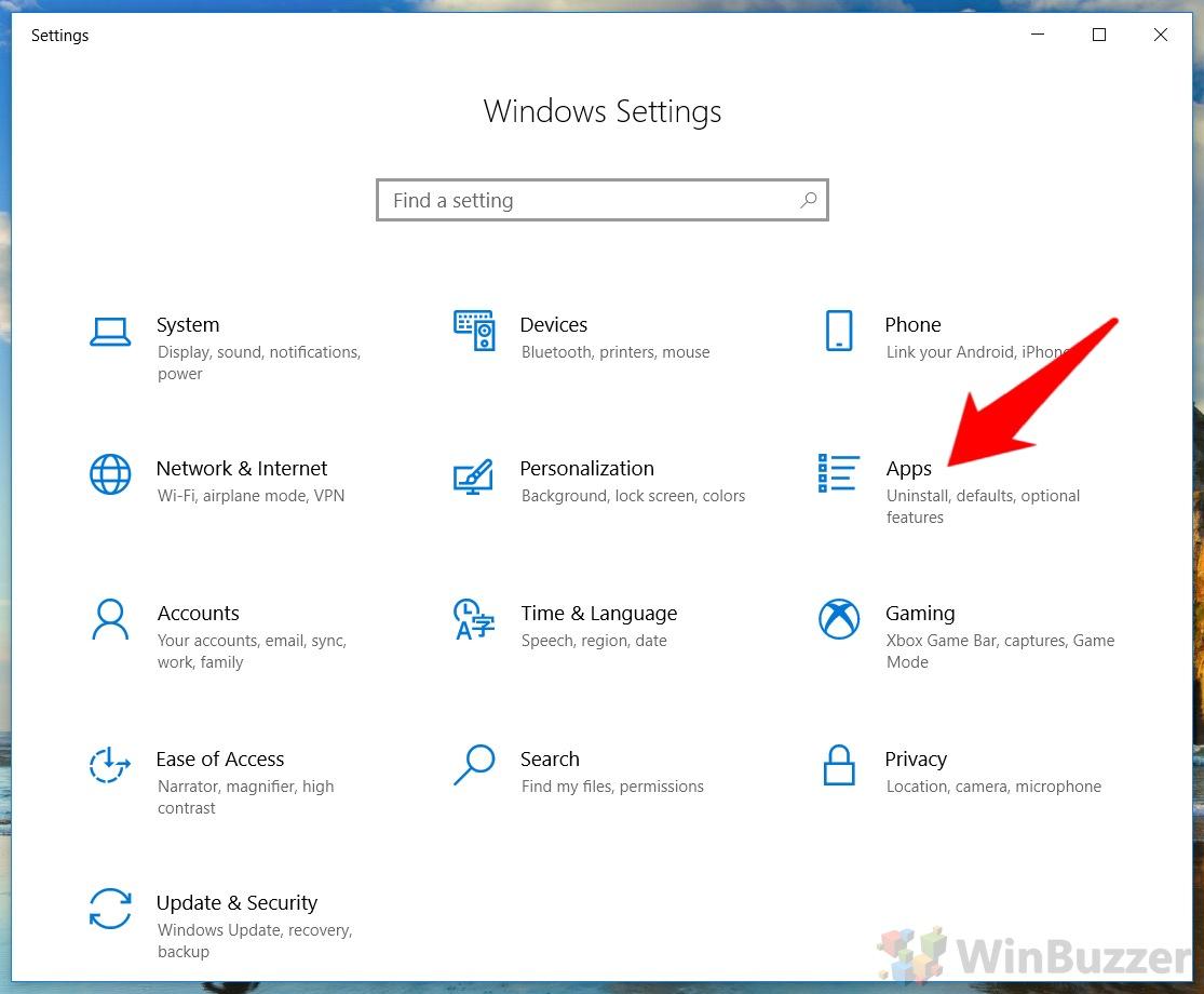 Windows 10 - Settings - Open Apps