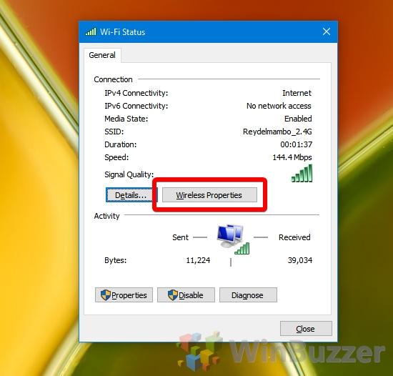Windows 10 - Wi-Fi Status