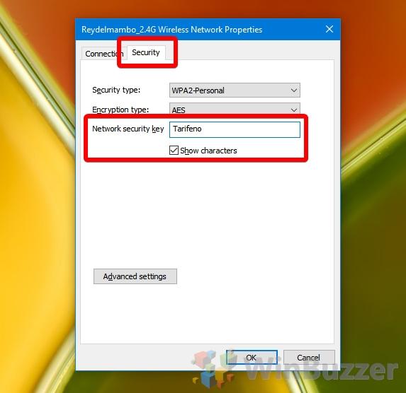 Windows 10 - Wi-Fi Status - Wireless Properties - Network Security Key