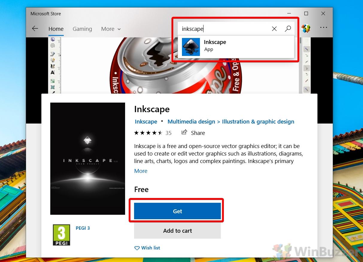 Windows 10 - Microsoft Store - Inkscape