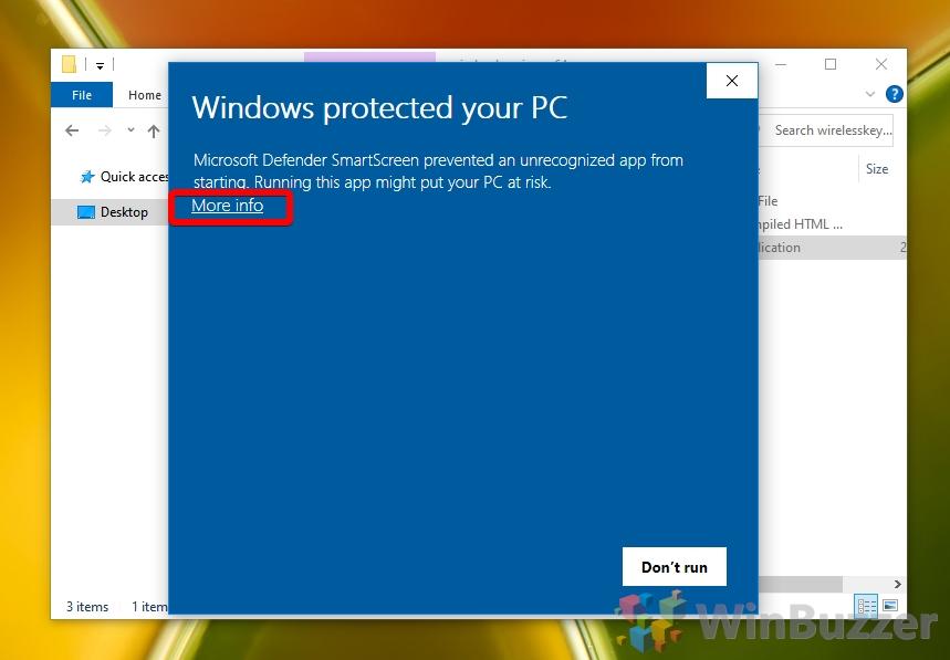 Webbrowser - Run WirelessKeyView - Windows Defender Confirmation