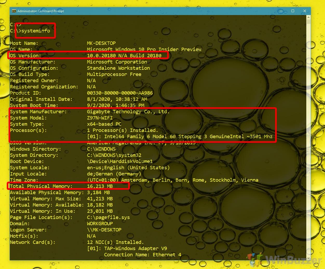 Windows 10 - CMD admin - systeminfo