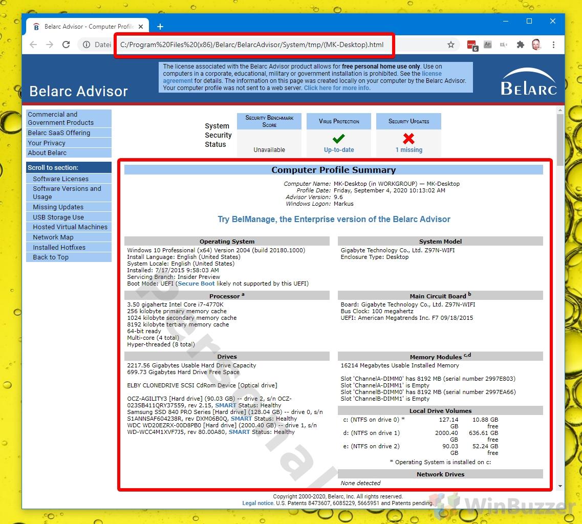 Windows 10 - Belarc Advisor System Specs Report