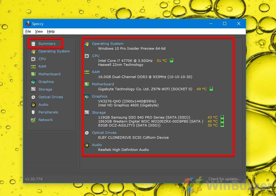 Windows 10 - Speccy - Summary