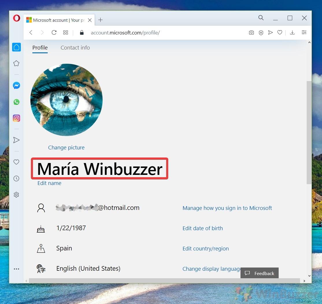 Windows 10 - Micosoft Account - Your Info - Profile