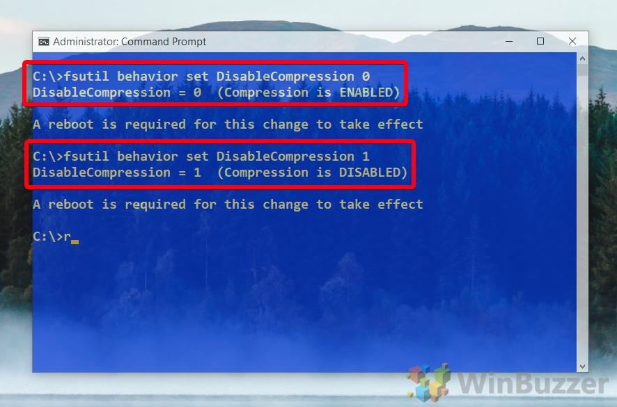 Windows 10 - CMD admin - fsutil behavior set DisableCompression