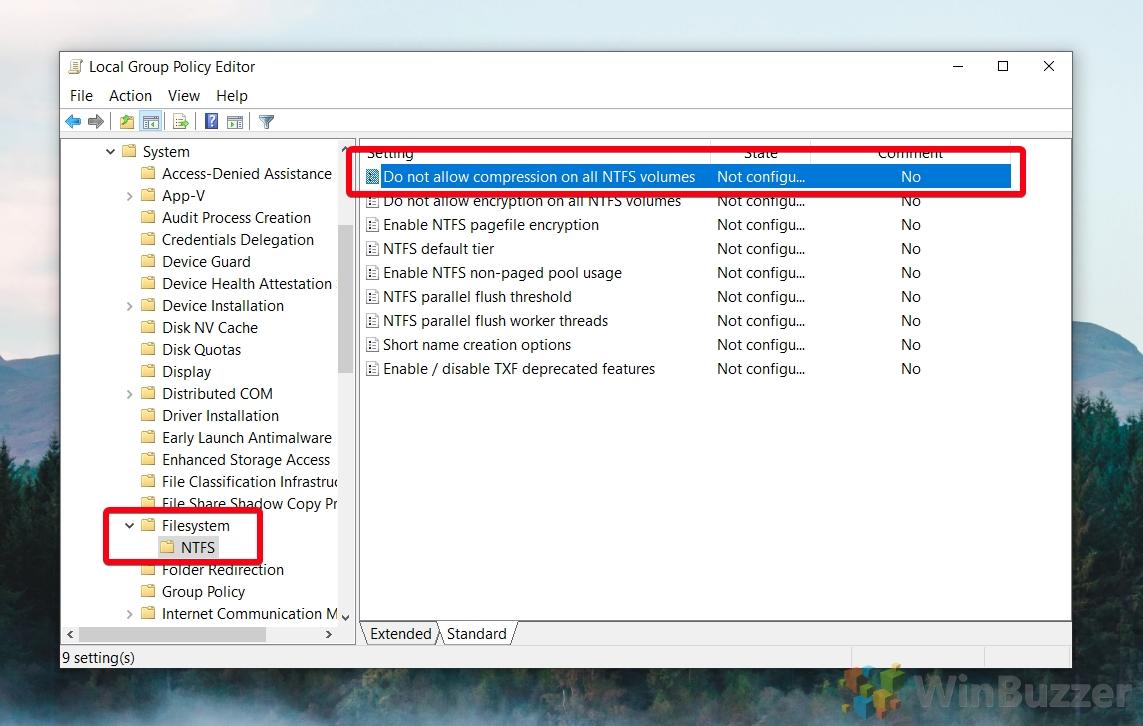 Windows 10 - gpedit - Computer Configuration Administrative Templates System Filesystem NTFS