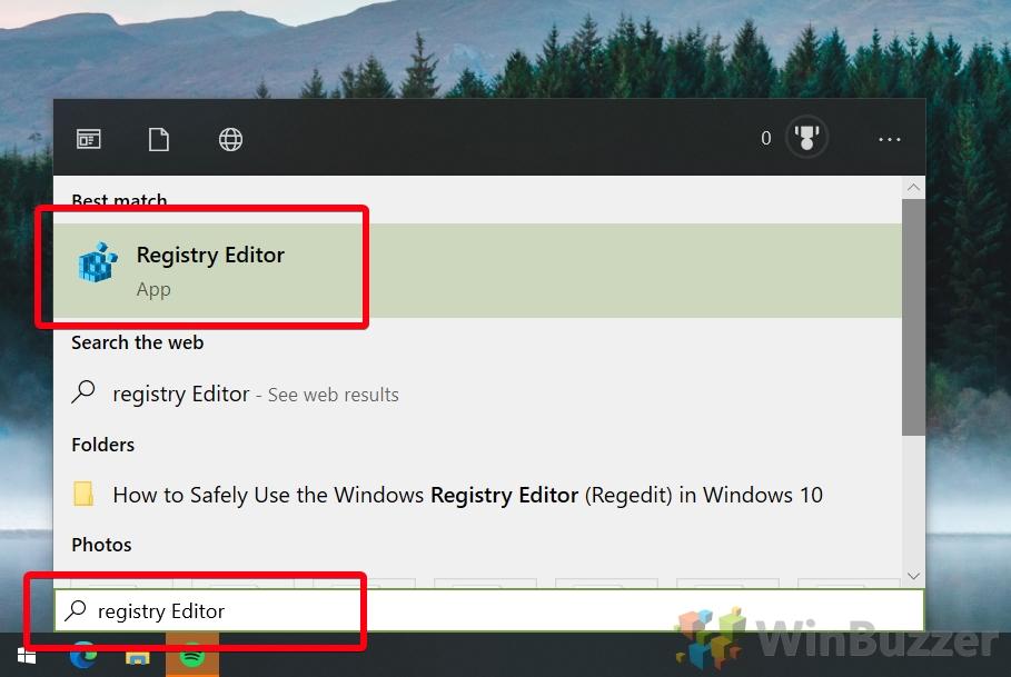 Windows 10 - open regedit