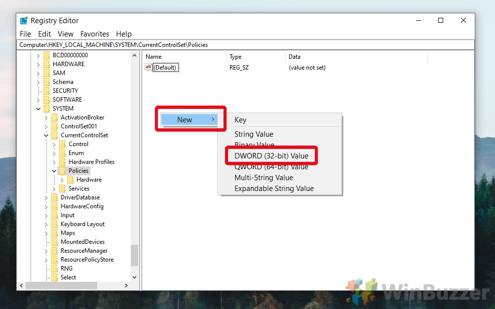 Windows 10 Regedit - create DWORD