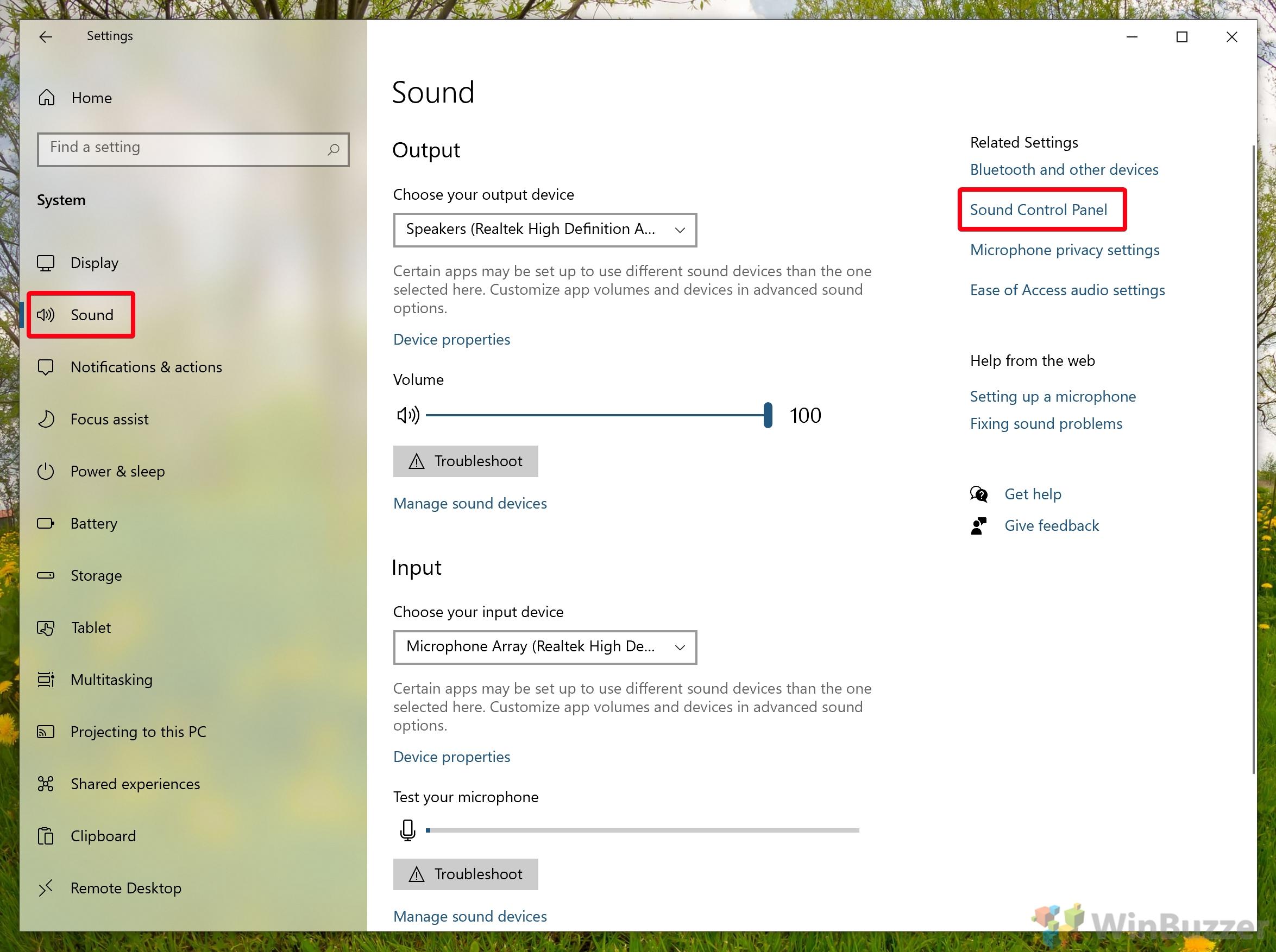 Windows 10 - Settings - Open System