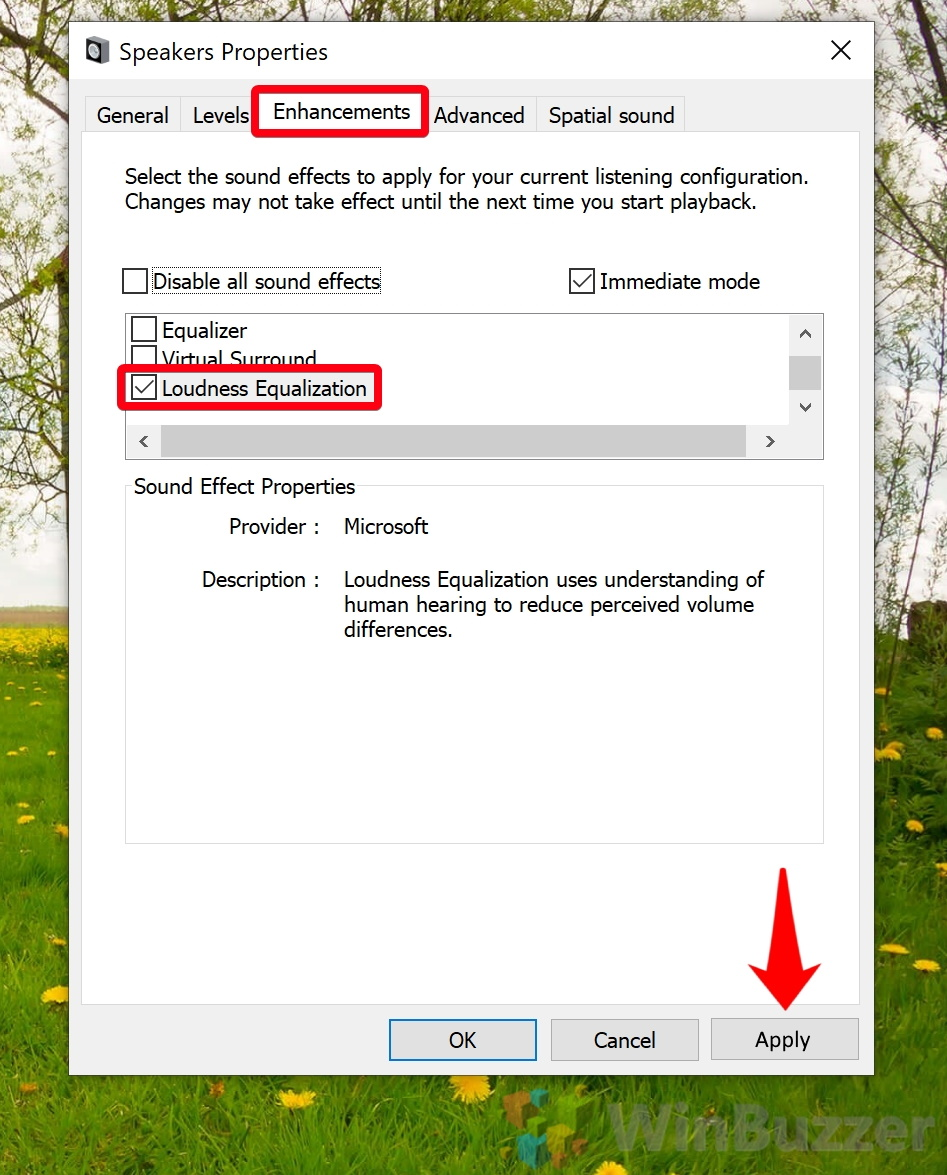 Windows 10 - Settings - System - Sound - Sound Control Panel - Playback - Speakers Properties - Enhancements - Loudness Equalization - Apply