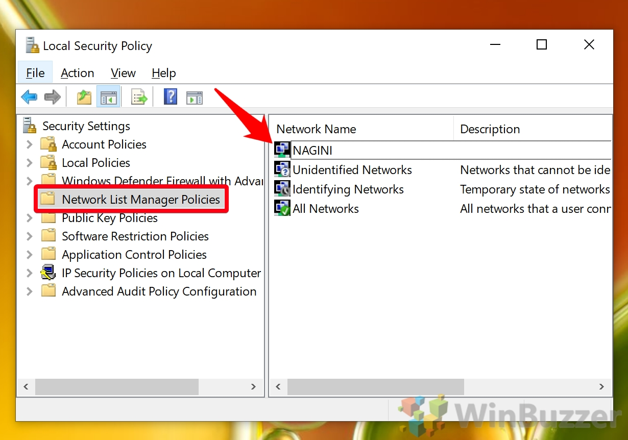 Windows 10 - Local Security Policy - Network List - Open Nagini Network