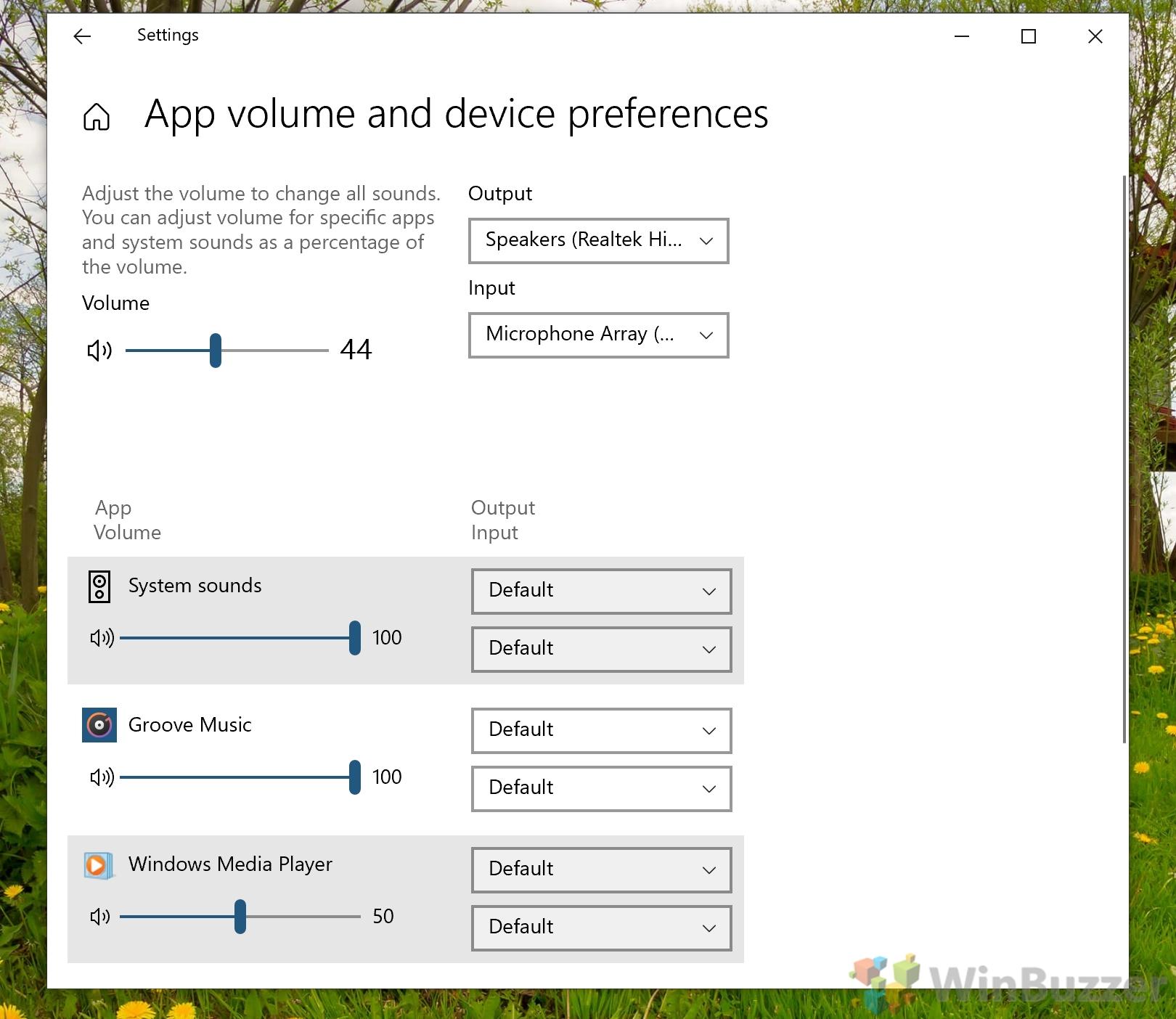 Windows 10 - Settings - System - Sound - Advanced Sound Options - Change Volume Level