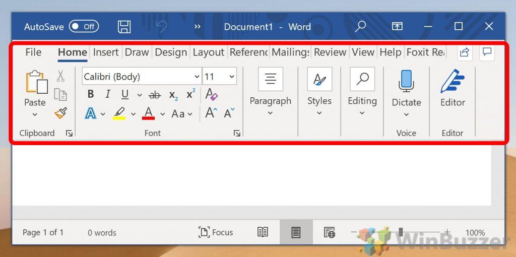 Microsoft Word Ribbon