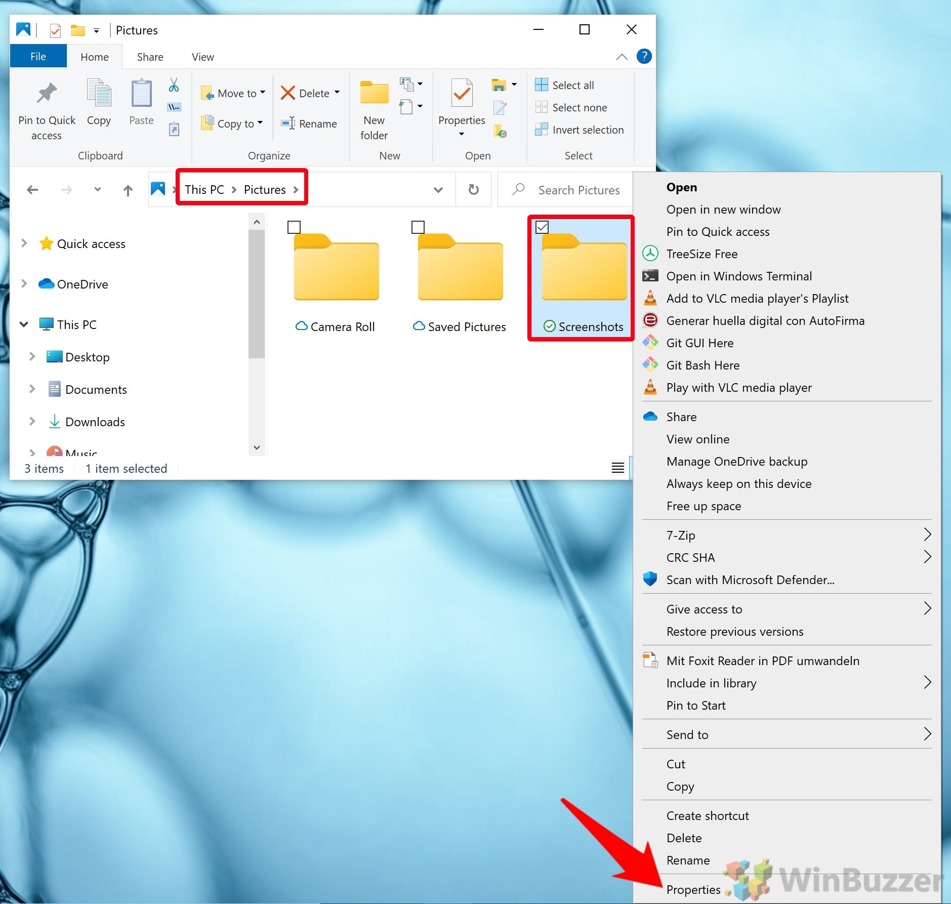 Windows 10 - Screenshots folder - Properties