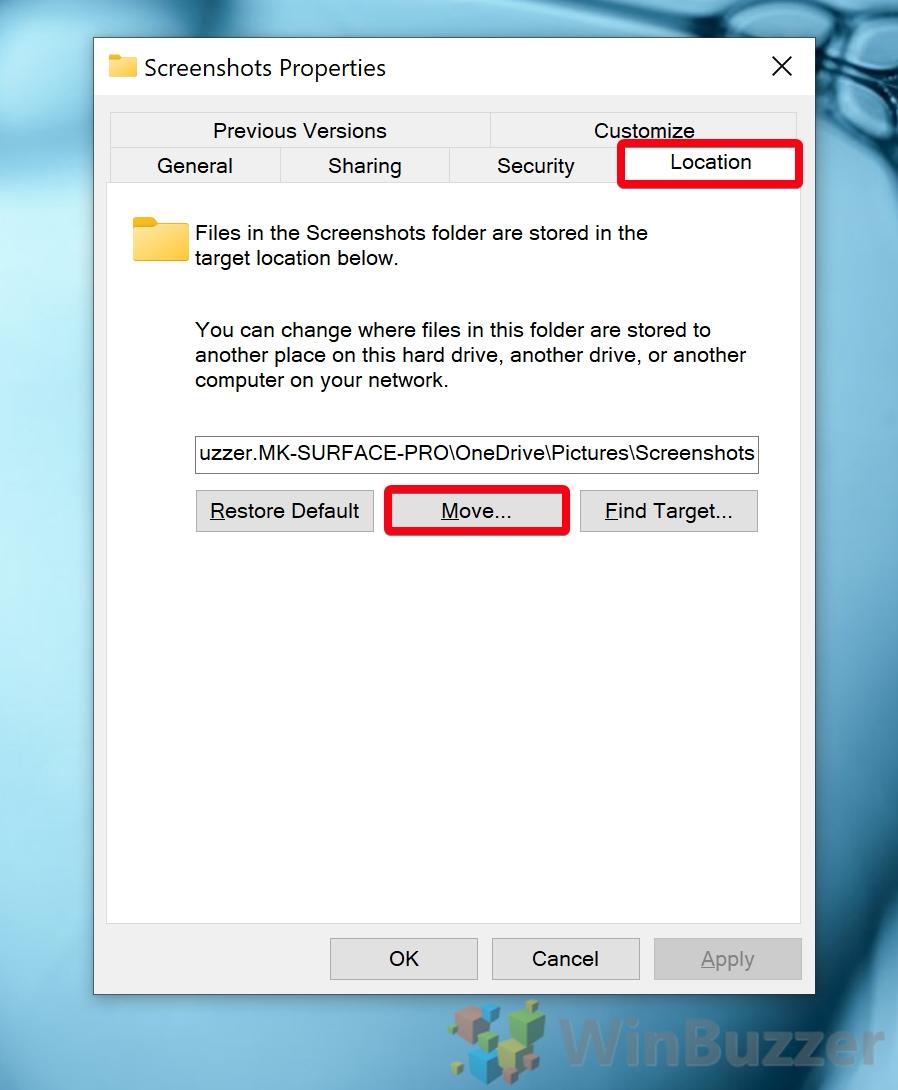 Windows 10 - Screenshots folder - Properties Location - Move