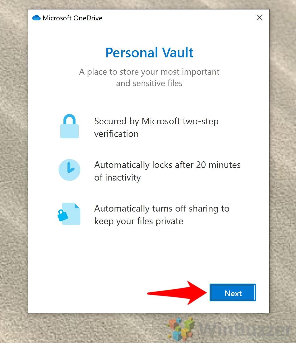 Windows 10 - Open Onedrive Folder - Open Personal Vault - Next
