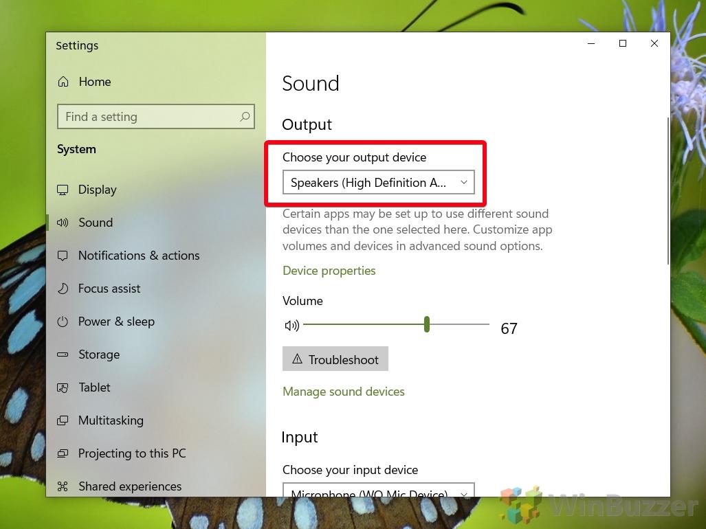 Windows 10 - Sound settings - Output